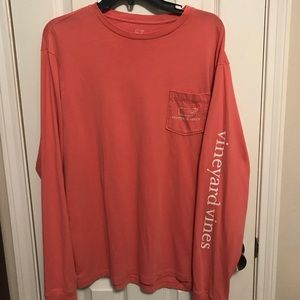 vineyard vines medium salmon long sleeve tee